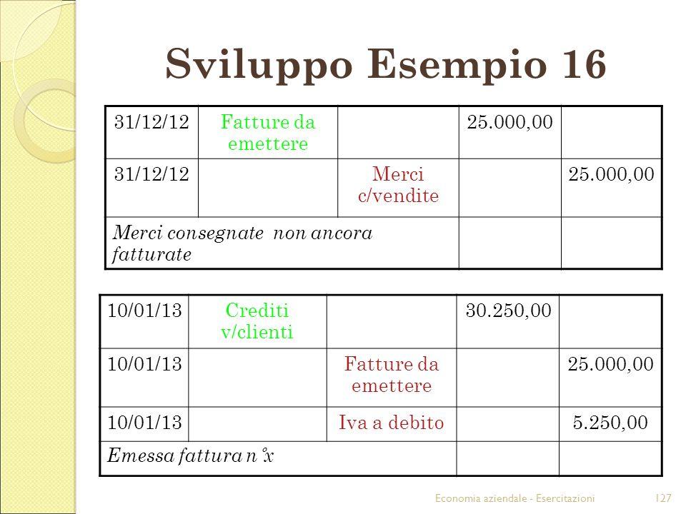 Economia aziendale - Esercitazioni127 Sviluppo Esempio 16 31/12/12Fatture da emettere 25.000,00 31/12/12Merci c/vendite 25.000,00 Merci consegnate non
