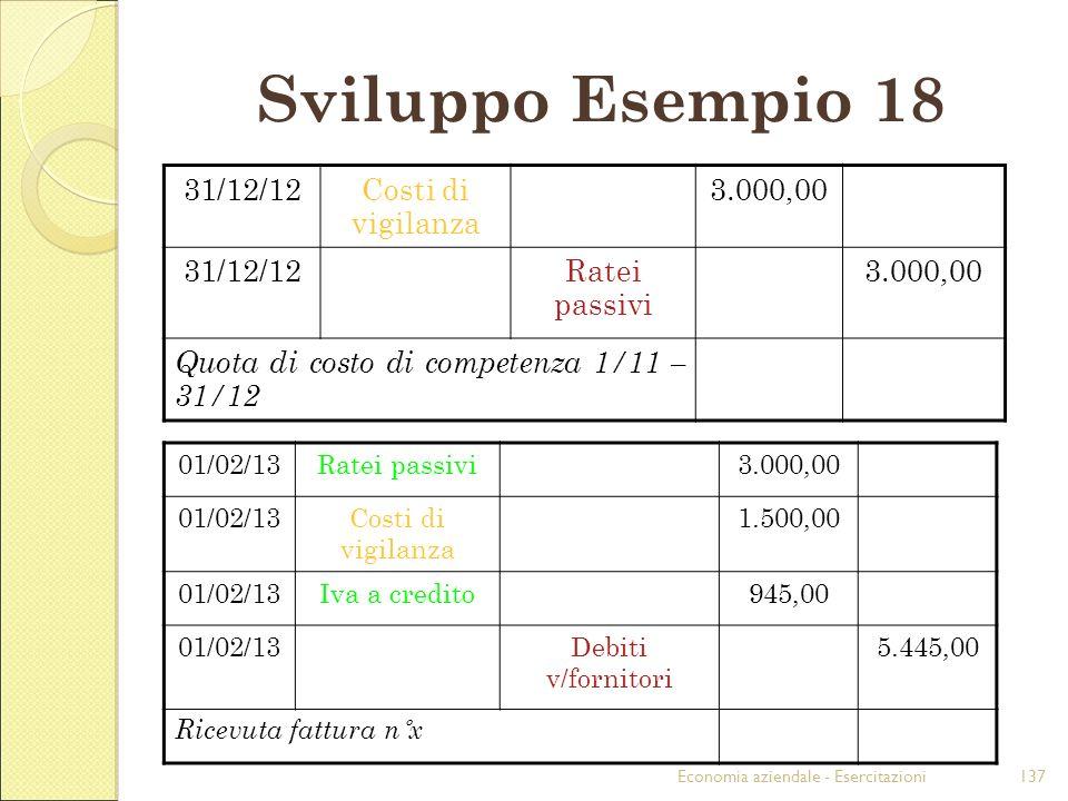 Economia aziendale - Esercitazioni137 Sviluppo Esempio 18 31/12/12Costi di vigilanza 3.000,00 31/12/12Ratei passivi 3.000,00 Quota di costo di compete