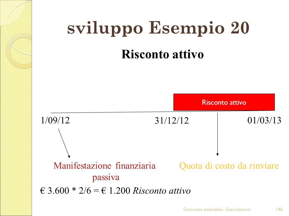 Economia aziendale - Esercitazioni146 sviluppo Esempio 20 1/09/12 31/12/12 01/03/13 Risconto attivo 3.600 * 2/6 = 1.200 Risconto attivo Manifestazione