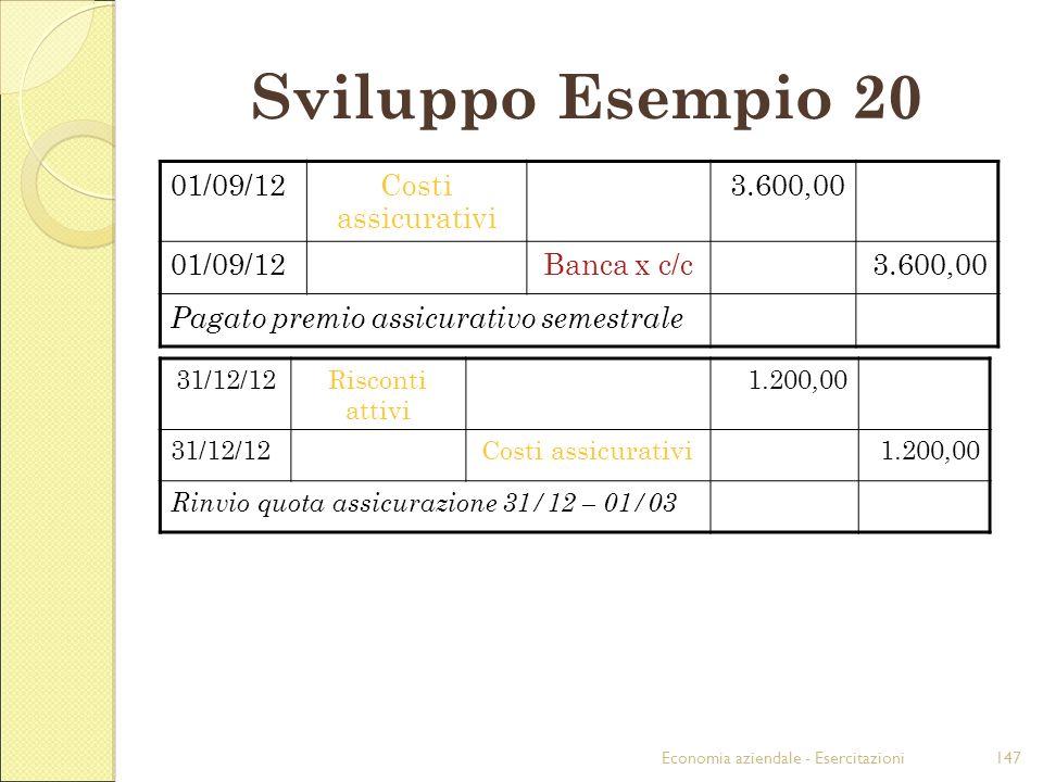 Economia aziendale - Esercitazioni147 Sviluppo Esempio 20 01/09/12Costi assicurativi 3.600,00 01/09/12Banca x c/c3.600,00 Pagato premio assicurativo s