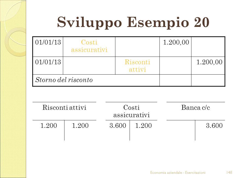 Economia aziendale - Esercitazioni148 Sviluppo Esempio 20 01/01/13Costi assicurativi 1.200,00 01/01/13Risconti attivi 1.200,00 Storno del risconto Ris