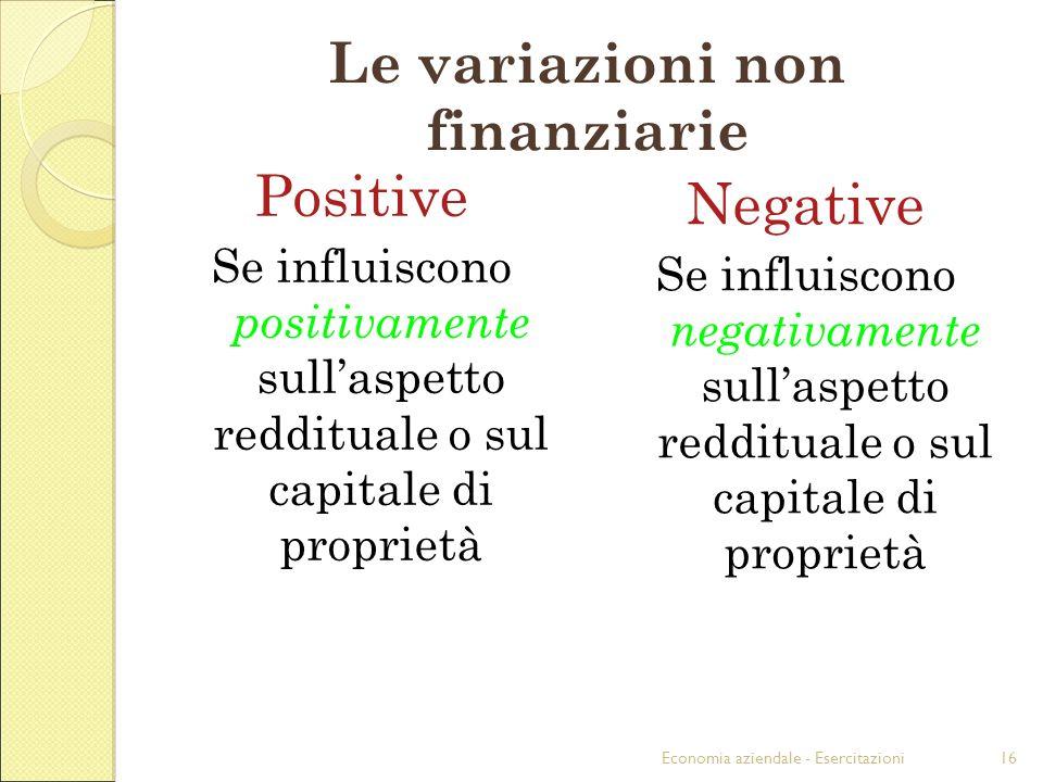 Economia aziendale - Esercitazioni16 Le variazioni non finanziarie Positive Se influiscono positivamente sullaspetto reddituale o sul capitale di prop
