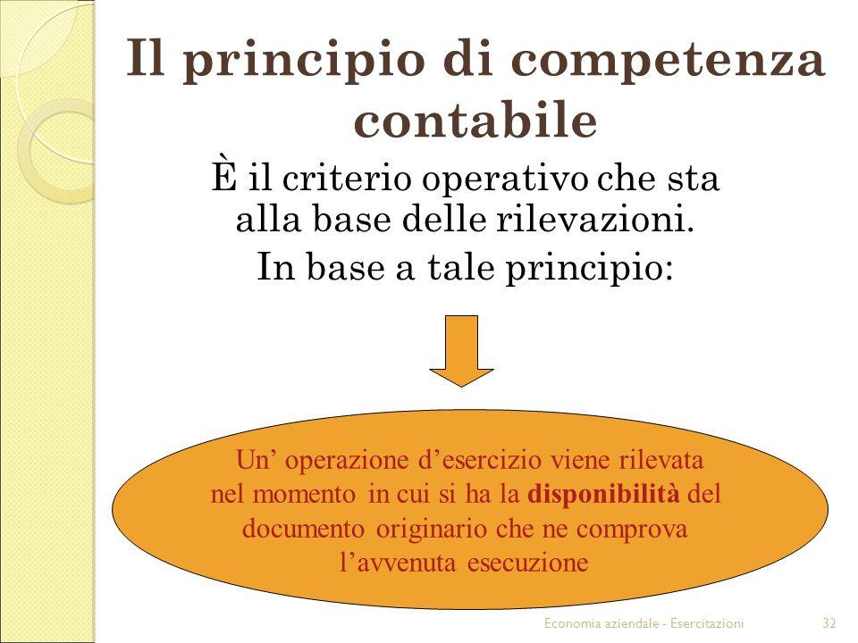 Economia aziendale - Esercitazioni32 Il principio di competenza contabile È il criterio operativo che sta alla base delle rilevazioni. In base a tale