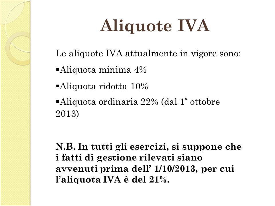 Aliquote IVA L Le aliquote IVA attualmente in vigore sono: Aliquota minima 4% Aliquota ridotta 10% Aliquota ordinaria 22% (dal 1° ottobre 2013) N.B. I