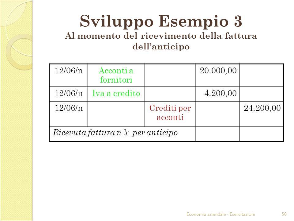 Economia aziendale - Esercitazioni50 Sviluppo Esempio 3 Al momento del ricevimento della fattura dellanticipo 12/06/nAcconti a fornitori 20.000,00 12/