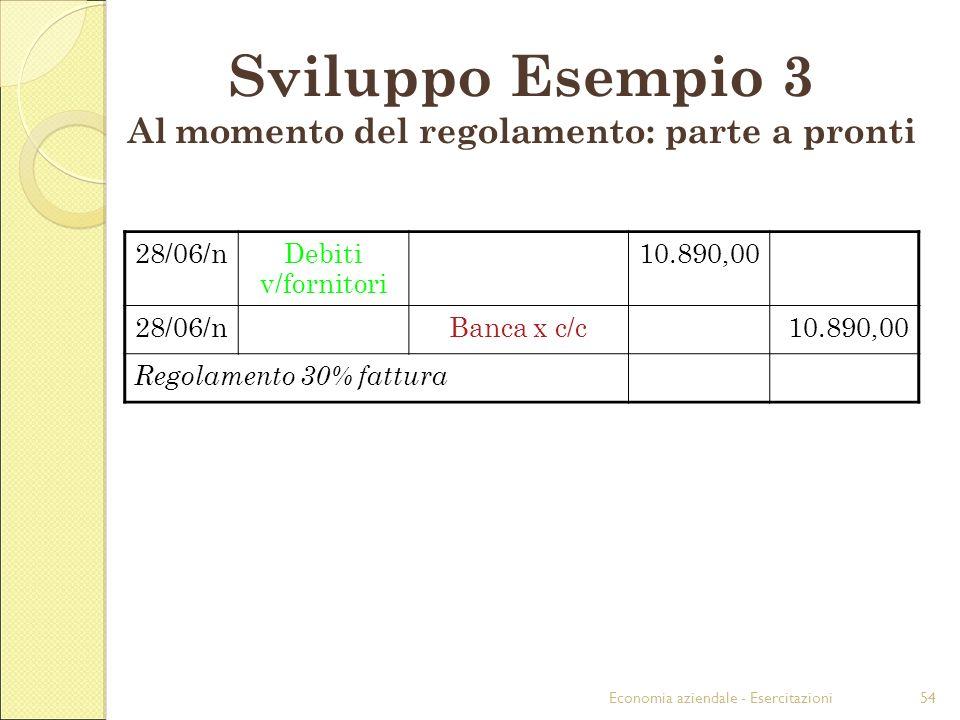 Economia aziendale - Esercitazioni54 28/06/nDebiti v/fornitori 10.890,00 28/06/nBanca x c/c10.890,00 Regolamento 30% fattura Sviluppo Esempio 3 Al mom