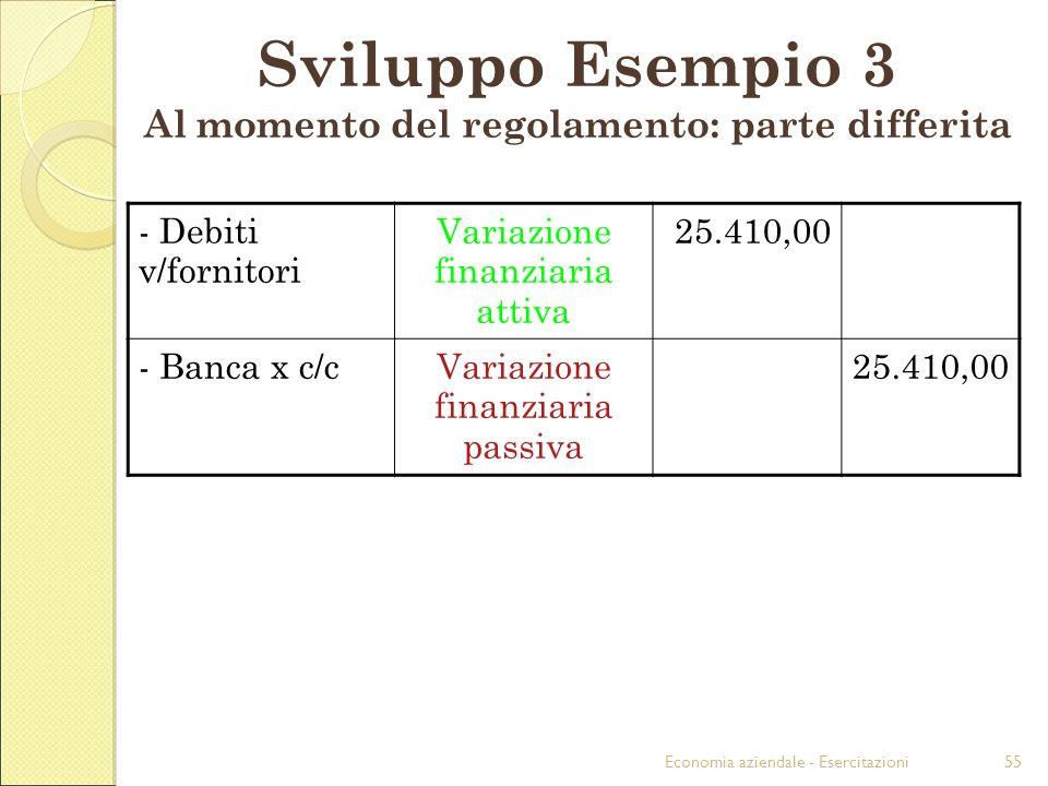 Economia aziendale - Esercitazioni55 Sviluppo Esempio 3 Al momento del regolamento: parte differita - Debiti v/fornitori Variazione finanziaria attiva