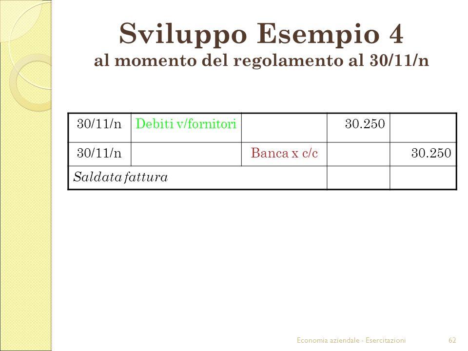 Economia aziendale - Esercitazioni62 30/11/nDebiti v/fornitori30.250 30/11/nBanca x c/c30.250 Saldata fattura Sviluppo Esempio 4 al momento del regola