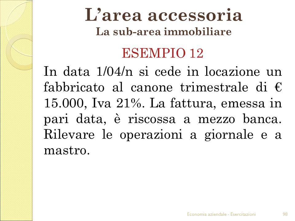 Economia aziendale - Esercitazioni98 Larea accessoria La sub-area immobiliare ESEMPIO 12 In data 1/04/n si cede in locazione un fabbricato al canone t