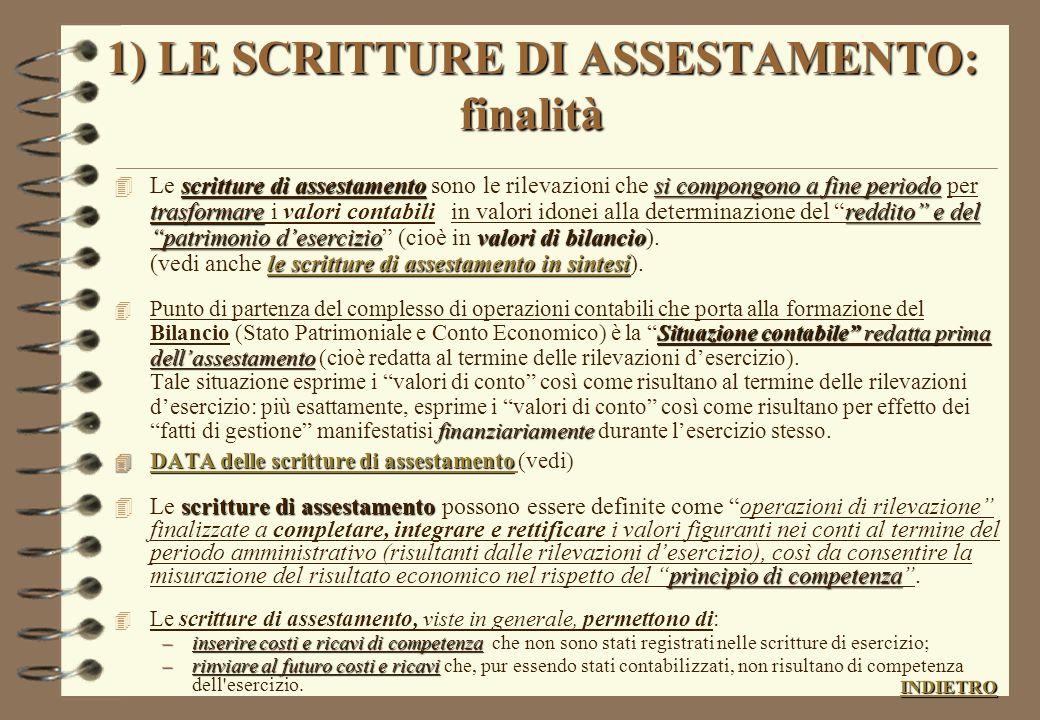 SCRITTURE DI CHIUSURA (elenco delle varie fasi) 4 1 ) SCRITTURE DI ASSESTAMENTO; ASSESTAMENTO 4 2) SCRITTURE DI RICLASSIFICAZIONE; RICLASSIFICAZIONE 4