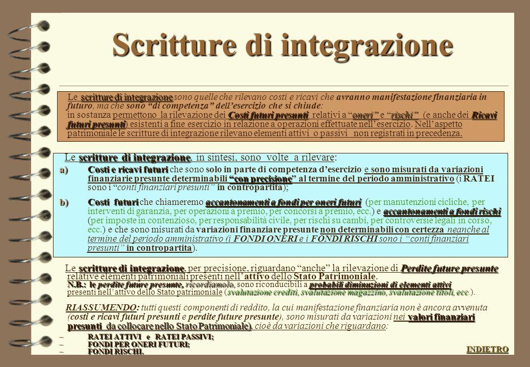 Le scritture di completamento competenza dellesercizio : 4 Scritture di completamento: hanno la finalità di completare la contabilità esistente attrav