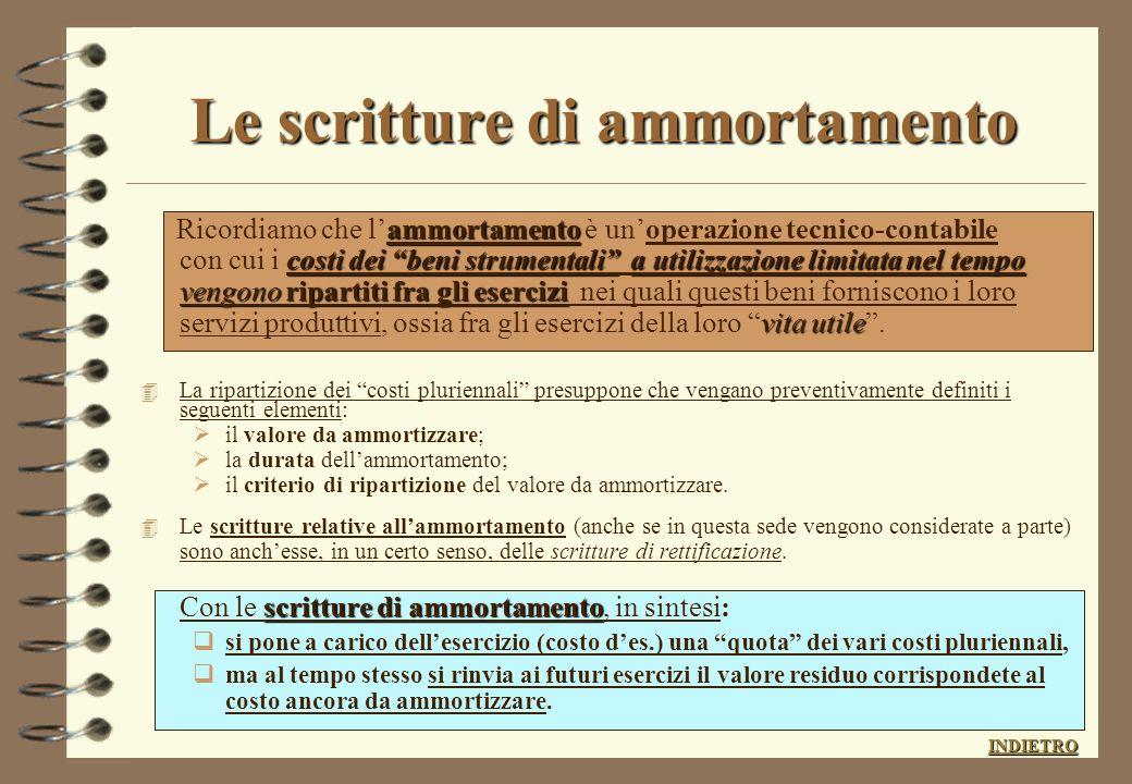 LE SCRITTURE DI RETTIFICA scritture di rettifica individuare e rinviareCOSTI RICAVI,già rilevati, ma di competenza futura 4 Le scritture di rettifica