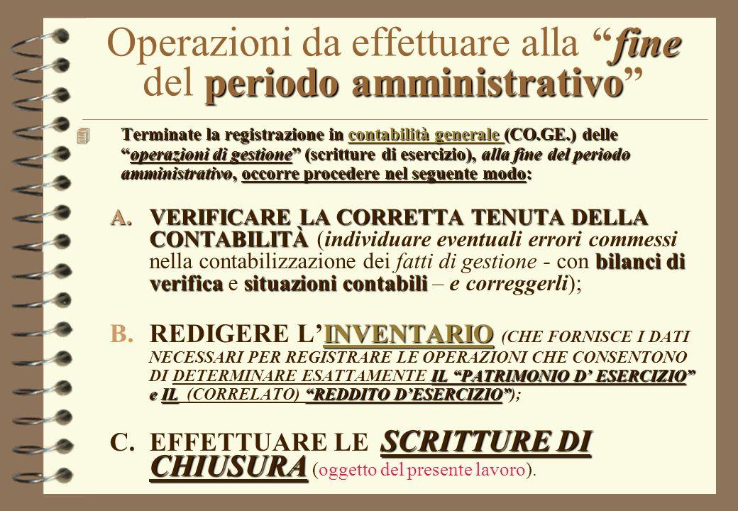 ECONOMIA AZIENDALE LE OPERAZIONI DI CHIUSURA