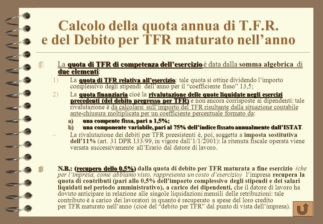 La rilevazione della liquidazione della quota di Trattamento di Fine Rapporto (T.F.R.) TFR 4 I lavoratori dipendenti dellazienda hanno diritto, oltre