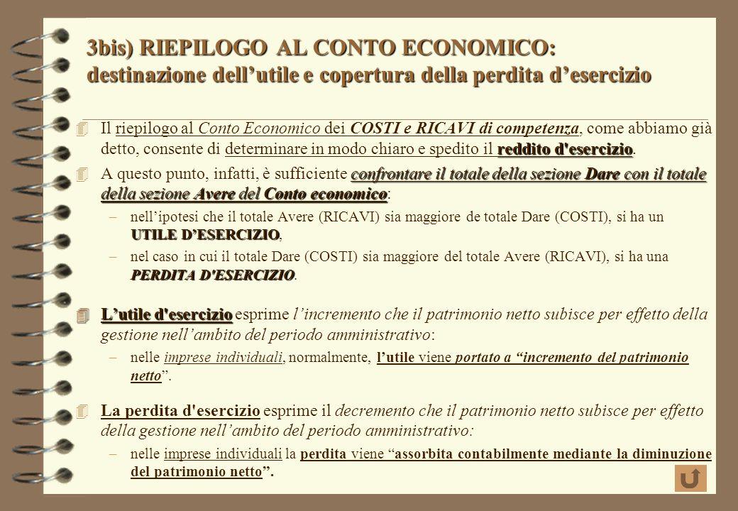 3)RIEPILOGO AL CONTO ECONOMICO 3) RIEPILOGO AL CONTO ECONOMICO scritture di riepilogo i saldi dei conti economici di reddito accesi ai costi e ricavi