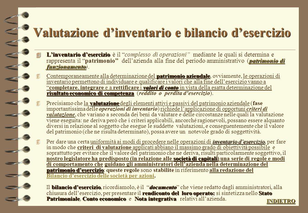 INVENTARIO INVENTARIO (dai valori contabili ai valori di Bilancio) inventario Linventario è: insieme delle operazionisi determina patrimonio in un det