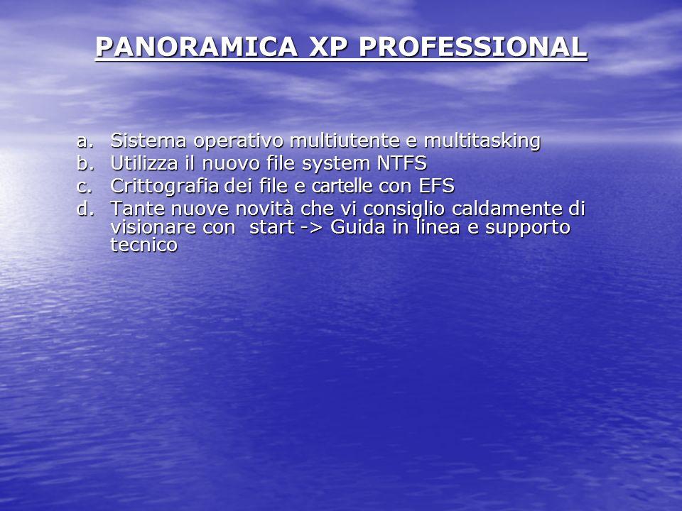 PANORAMICA XP PROFESSIONAL a.Sistema operativo multiutente e multitasking b.Utilizza il nuovo file system NTFS c.Crittografia dei file e cartelle con EFS d.Tante nuove novità che vi consiglio caldamente di visionare con start -> Guida in linea e supporto tecnico