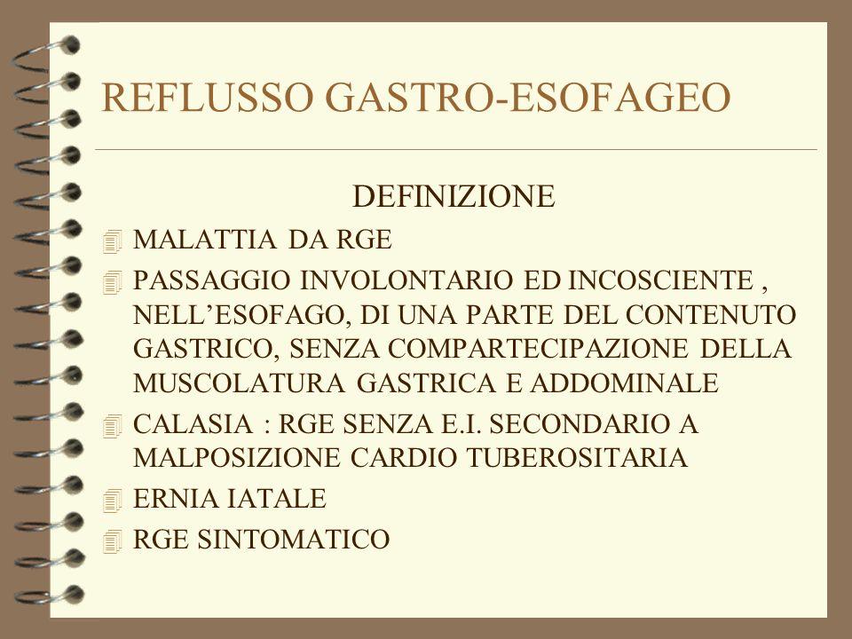 REFLUSSO GASTRO-ESOFAGEO DEFINIZIONE 4 MALATTIA DA RGE 4 PASSAGGIO INVOLONTARIO ED INCOSCIENTE, NELLESOFAGO, DI UNA PARTE DEL CONTENUTO GASTRICO, SENZ