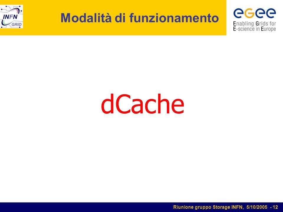 Riunione gruppo Storage INFN, 5/10/2005 - 12 Modalità di funzionamento dCache
