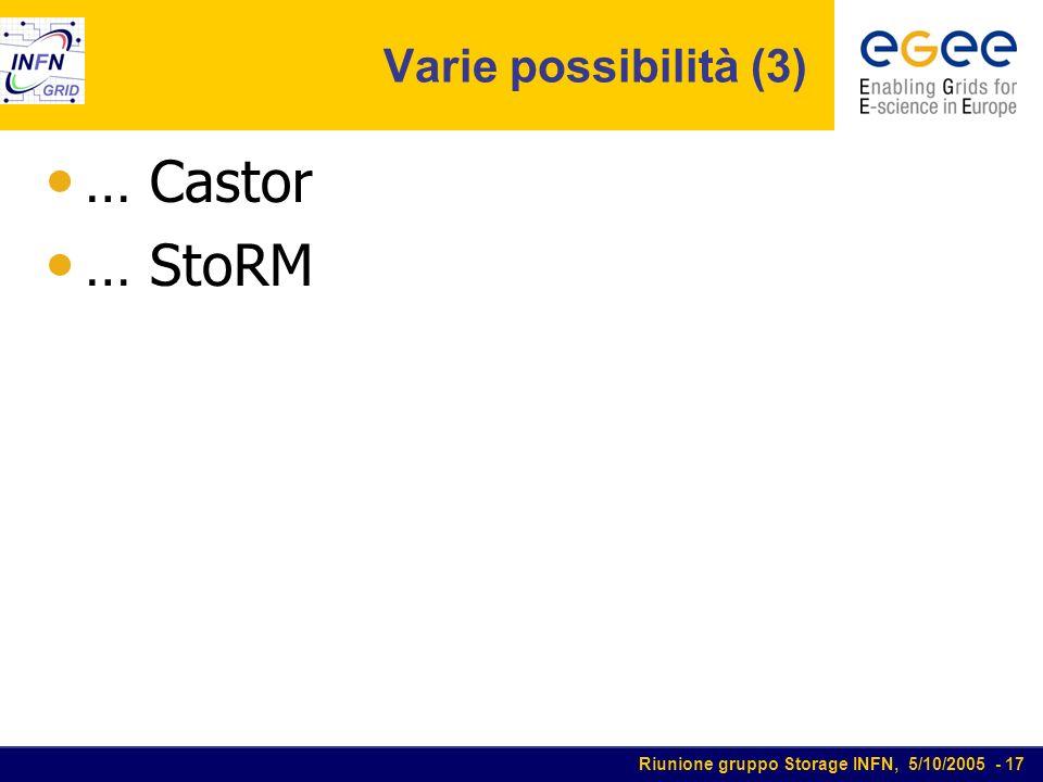Riunione gruppo Storage INFN, 5/10/2005 - 17 Varie possibilità (3) … Castor … StoRM