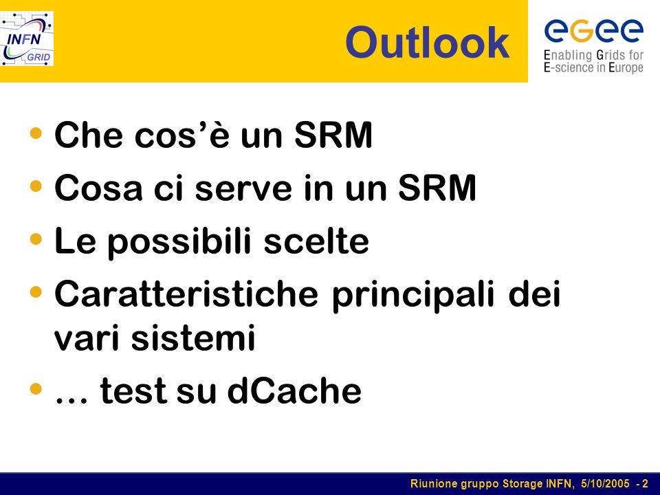 Riunione gruppo Storage INFN, 5/10/2005 - 2 Outlook Che cosè un SRM Cosa ci serve in un SRM Le possibili scelte Caratteristiche principali dei vari sistemi … test su dCache