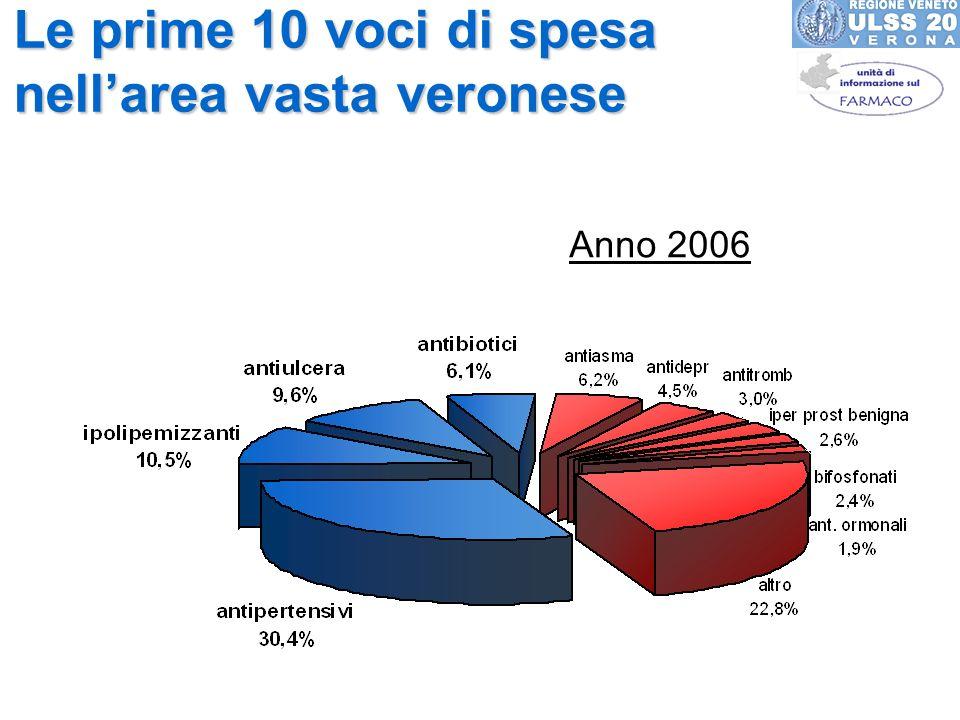 Le prime 10 voci di spesa nellarea vasta veronese Anno 2006
