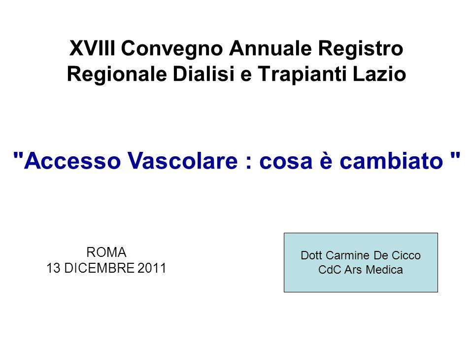 XVIII Convegno Annuale Registro Regionale Dialisi e Trapianti Lazio ROMA 13 DICEMBRE 2011