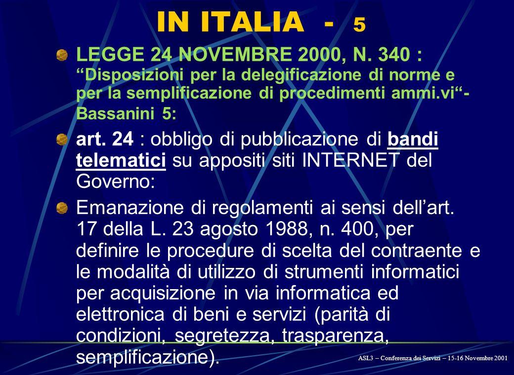 IN ITALIA - 4 LEGGE 23 DICEMBRE 1999, N. 488 – legge finanziaria 2000 – art.
