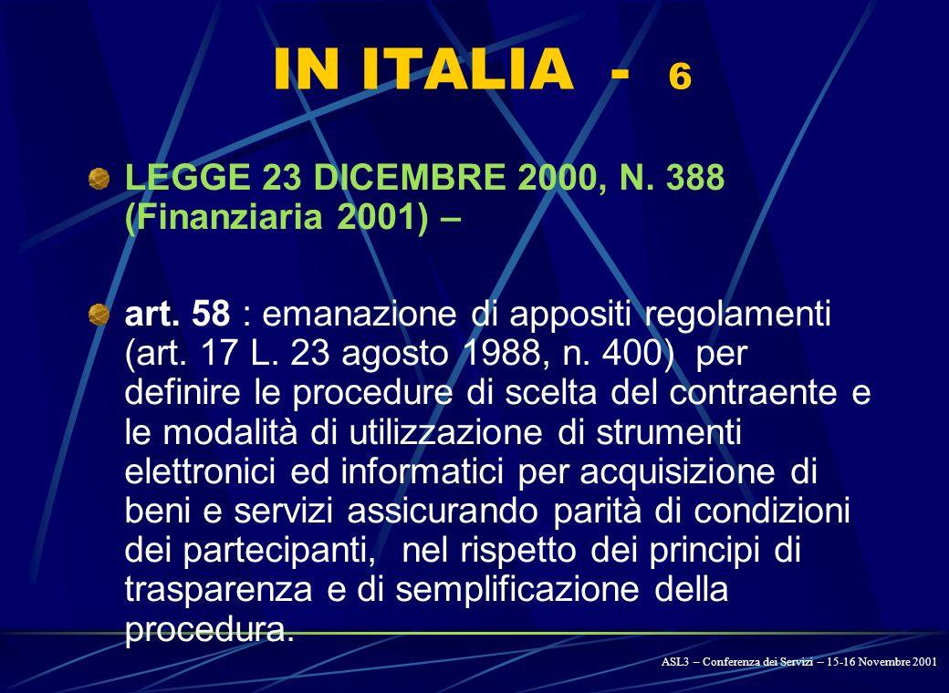 IN ITALIA - 5 LEGGE 24 NOVEMBRE 2000, N.