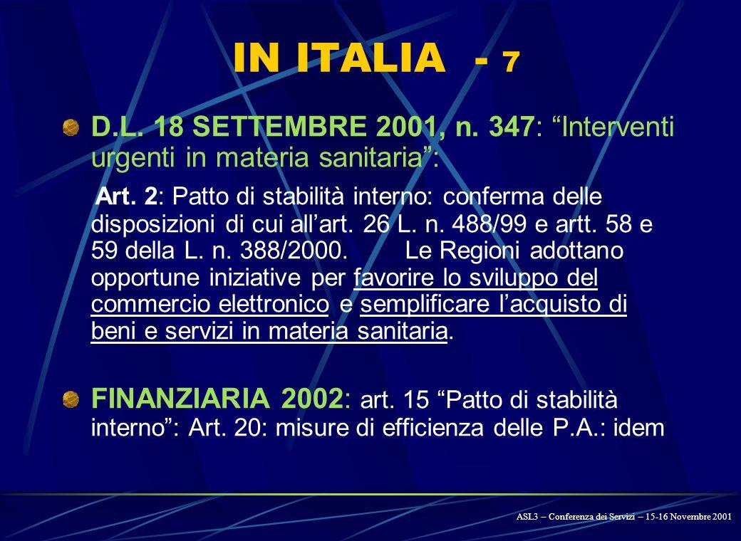 IN ITALIA - 6 LEGGE 23 DICEMBRE 2000, N. 388 (Finanziaria 2001) – art.