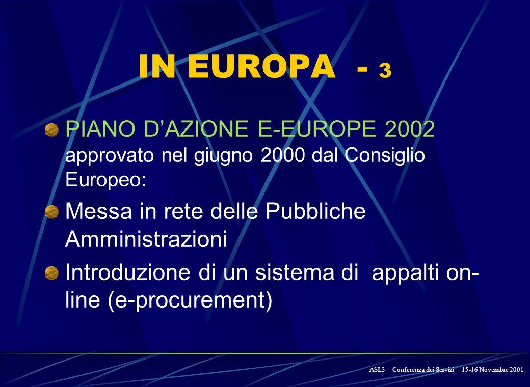 IN EUROPA - 2 COM 98/325, COM 99/427 DIRETTIVA 2000/31/CE Disciplina omogenea del commercio elettronico validità ed efficacia dei contratti telematici tutela del consumatore e della privacy DIRETTIVA 97/7/CE D.