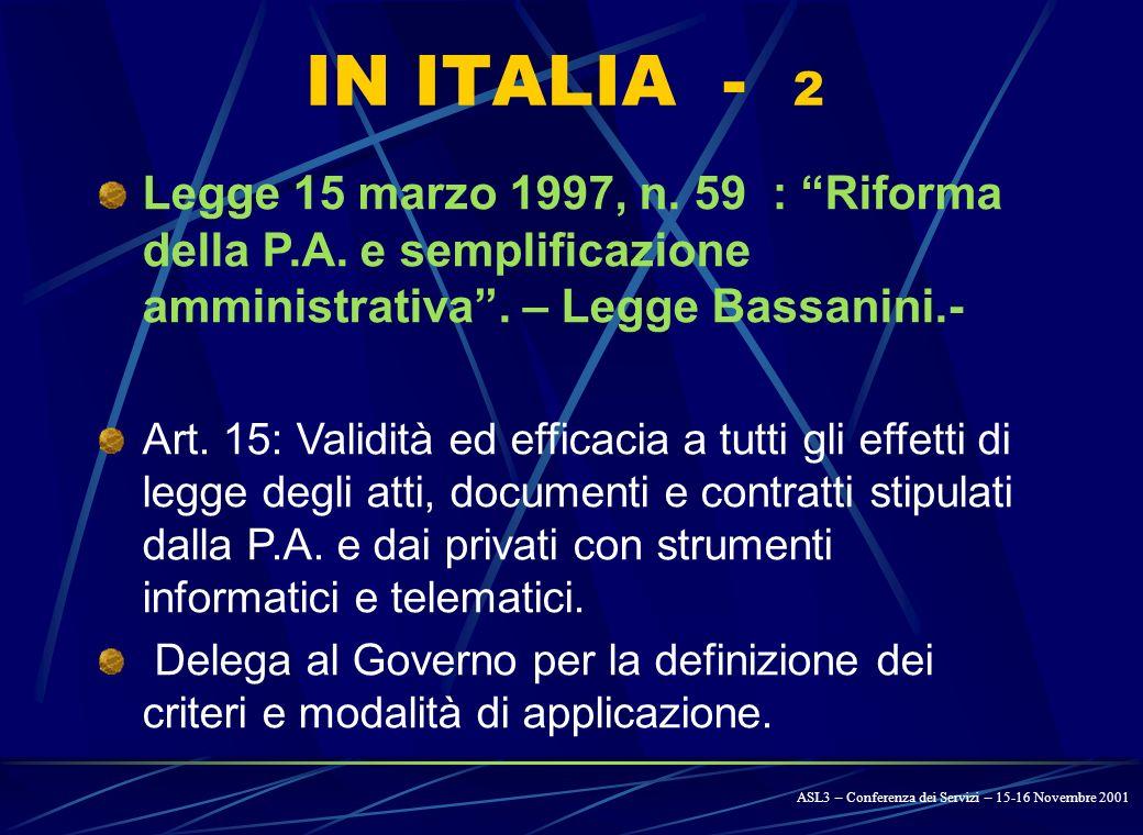 IN ITALIA - 1 D. Lgs. 31 marzo 1998, N. 114/98: Art.