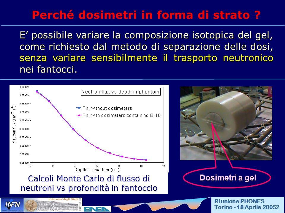 Perché dosimetri in forma di strato ? E possibile variare la composizione isotopica del gel, come richiesto dal metodo di separazione delle dosi, senz
