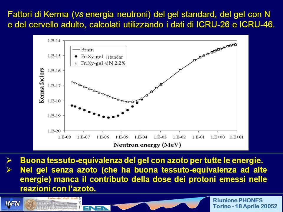 Fattori di Kerma (vs energia neutroni) del gel standard, del gel con N e del cervello adulto, calcolati utilizzando i dati di ICRU-26 e ICRU-46. Buona