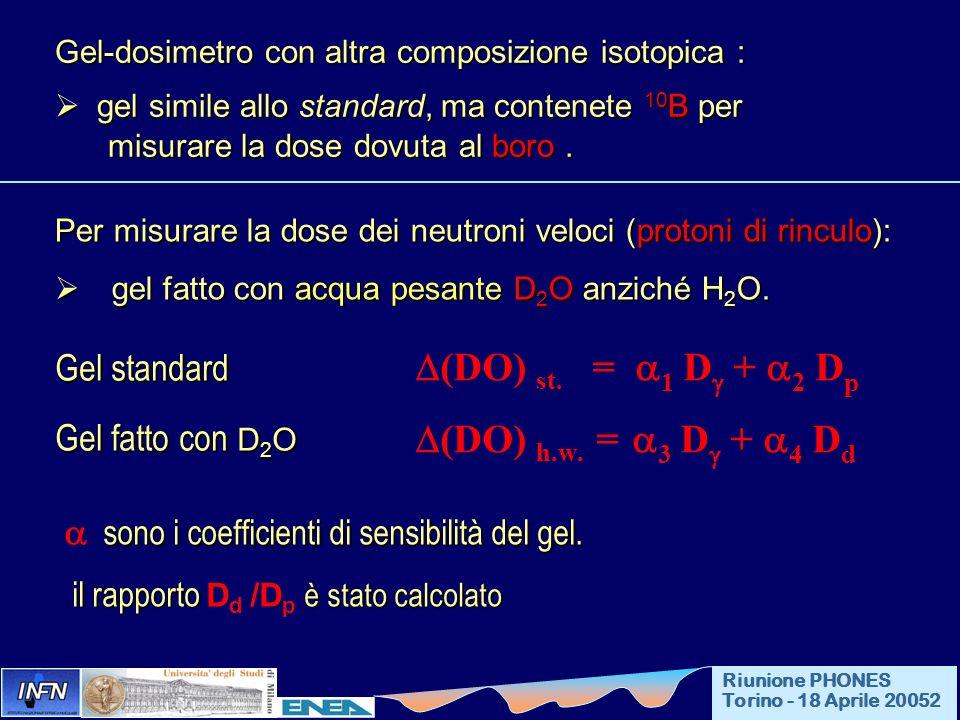 Gel-dosimetro con altra composizione isotopica : gel simile allo standard, ma contenete 10 B per gel simile allo standard, ma contenete 10 B per misur
