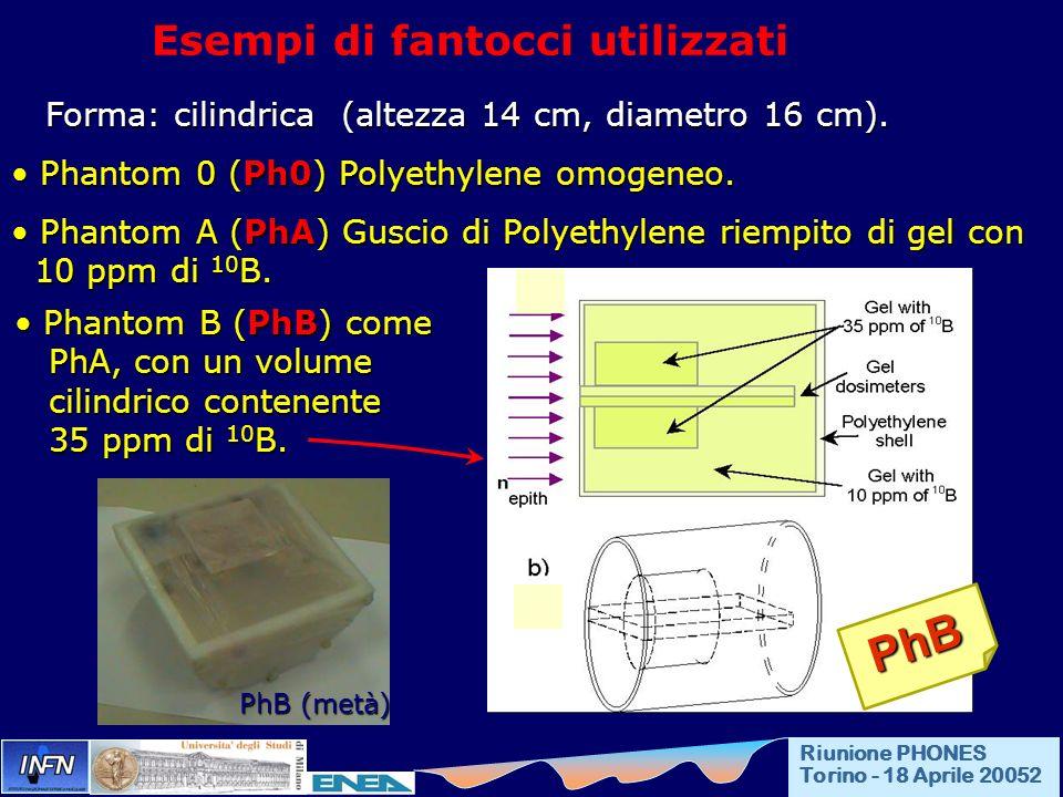 Esempi di fantocci utilizzati Forma: cilindrica (altezza 14 cm, diametro 16 cm). Forma: cilindrica (altezza 14 cm, diametro 16 cm). Phantom 0 (Ph0) Po