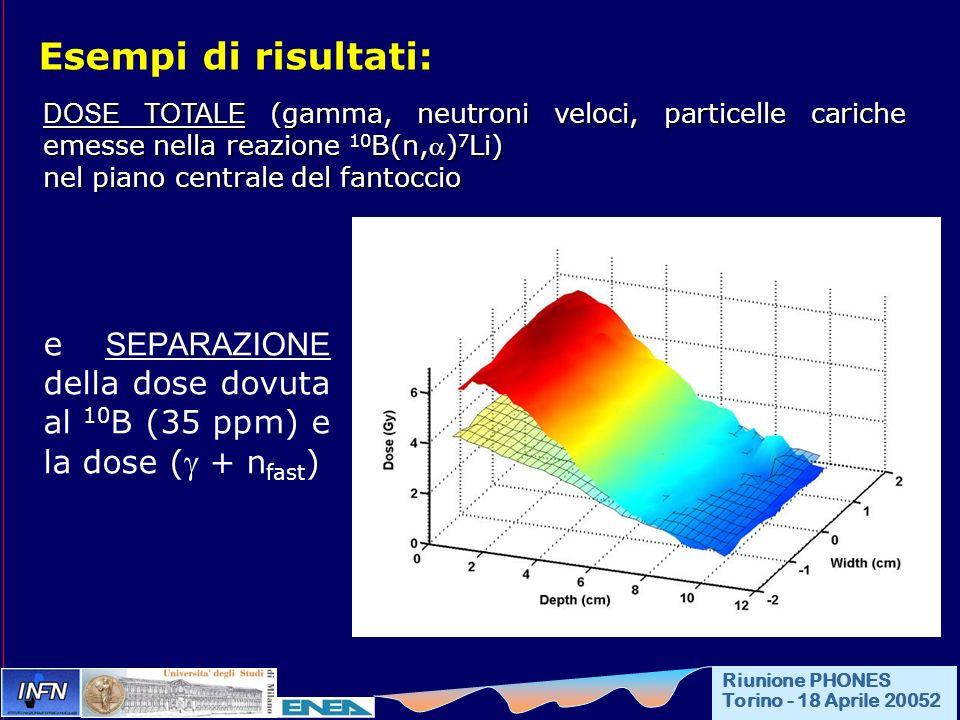 Esempi di risultati: DOSE TOTALE (gamma, neutroni veloci, particelle cariche emesse nella reazione 10 B(n,) 7 Li) nel piano centrale del fantoccio e SEPARAZIONE della dose dovuta al 10 B (35 ppm) e la dose ( + n fast ) Riunione PHONES Torino - 18 Aprile 20052