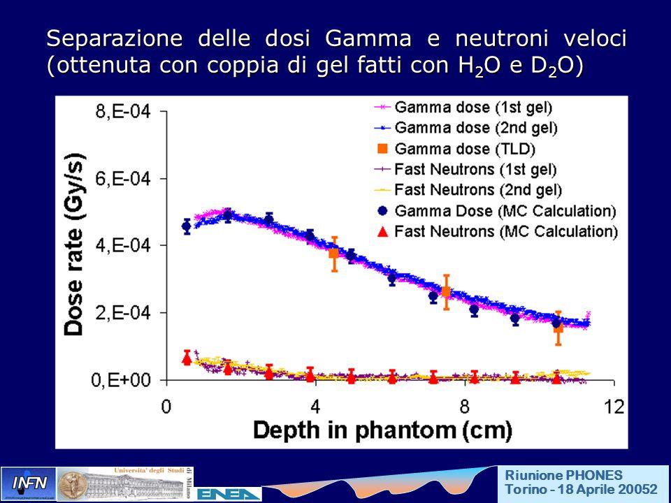 Separazione delle dosi Gamma e neutroni veloci (ottenuta con coppia di gel fatti con H 2 O e D 2 O) Riunione PHONES Torino - 18 Aprile 20052