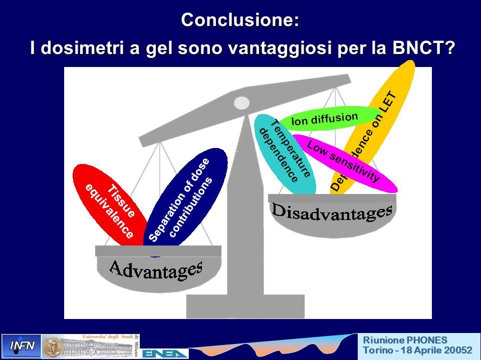 Conclusione: I dosimetri a gel sono vantaggiosi per la BNCT? I dosimetri a gel sono vantaggiosi per la BNCT? Riunione PHONES Torino - 18 Aprile 20052