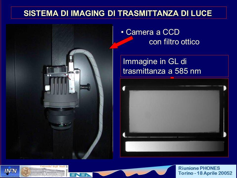 Camera a CCD con filtro ottico SISTEMA DI IMAGING DI TRASMITTANZA DI LUCE Sorgente piana di luce Riunione PHONES Torino - 18 Aprile 20052 Immagine in
