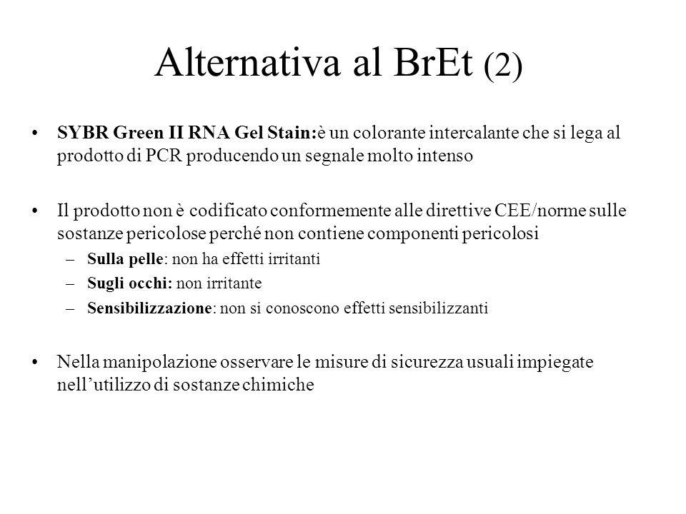 Alternativa al BrEt (2) SYBR Green II RNA Gel Stain:è un colorante intercalante che si lega al prodotto di PCR producendo un segnale molto intenso Il