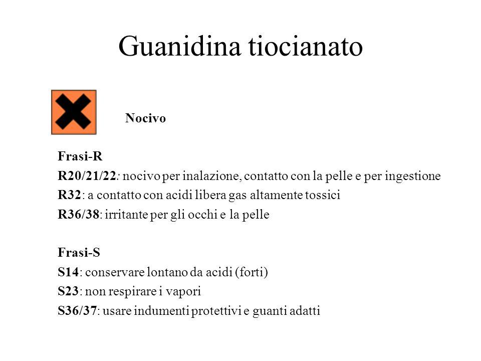 Guanidina tiocianato Nocivo Frasi-R R20/21/22: nocivo per inalazione, contatto con la pelle e per ingestione R32: a contatto con acidi libera gas alta