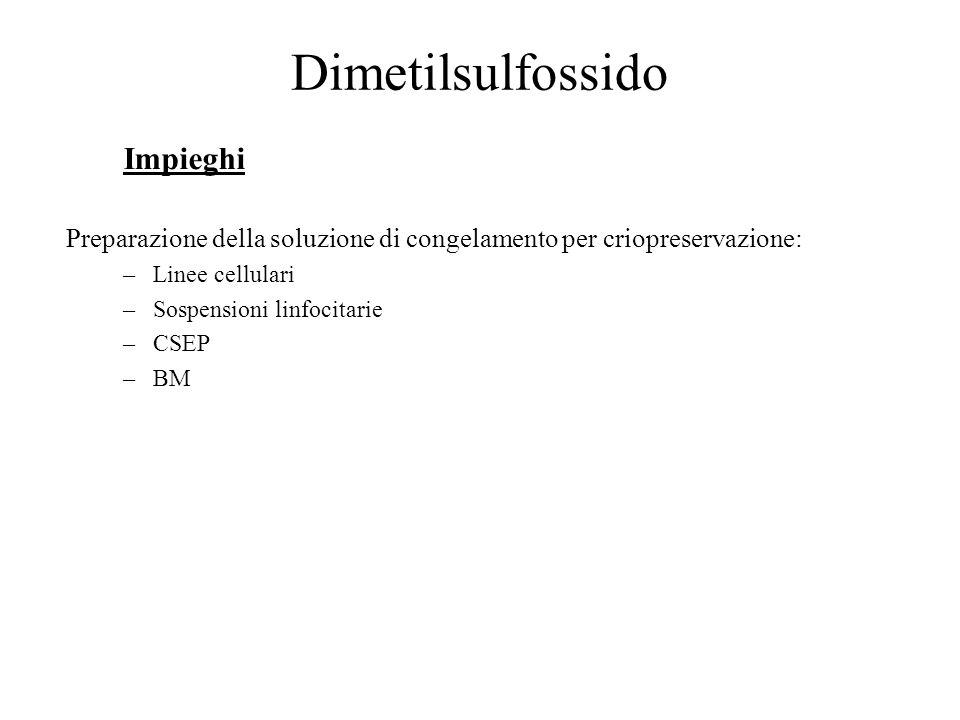 Dimetilsulfossido Impieghi Preparazione della soluzione di congelamento per criopreservazione: –Linee cellulari –Sospensioni linfocitarie –CSEP –BM