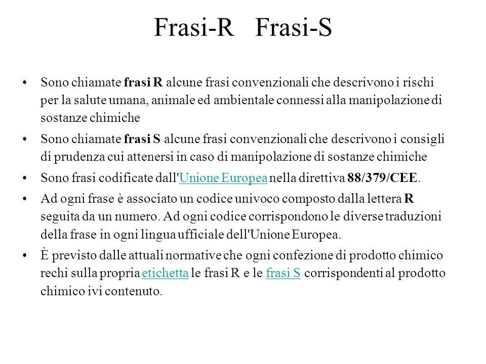 Frasi-R Frasi-S Sono chiamate frasi R alcune frasi convenzionali che descrivono i rischi per la salute umana, animale ed ambientale connessi alla mani