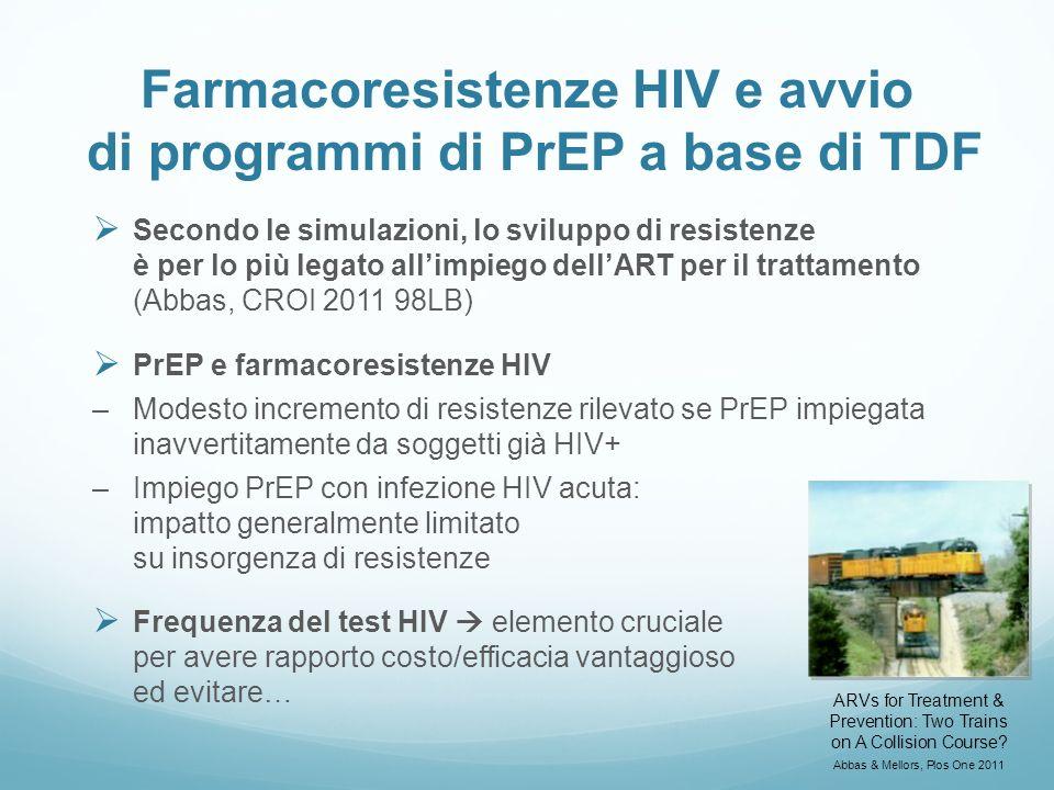 Farmacoresistenze HIV e avvio di programmi di PrEP a base di TDF Secondo le simulazioni, lo sviluppo di resistenze è per lo più legato allimpiego dell