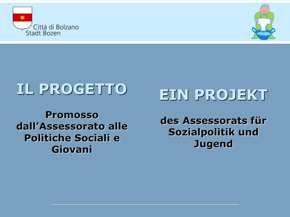 IL PROGETTO Promosso dallAssessorato alle Politiche Sociali e Giovani EIN PROJEKT des Assessorats für Sozialpolitik und Jugend