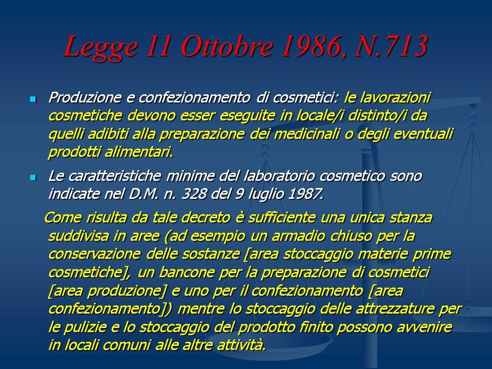Legge 11 Ottobre 1986, N.713 Produzione e confezionamento di cosmetici: le lavorazioni cosmetiche devono esser eseguite in locale/i distinto/i da quel
