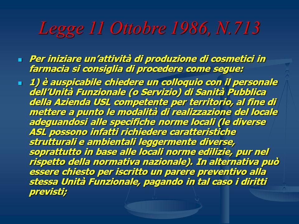Legge 11 Ottobre 1986, N.713 Per iniziare unattività di produzione di cosmetici in farmacia si consiglia di procedere come segue: Per iniziare unattiv
