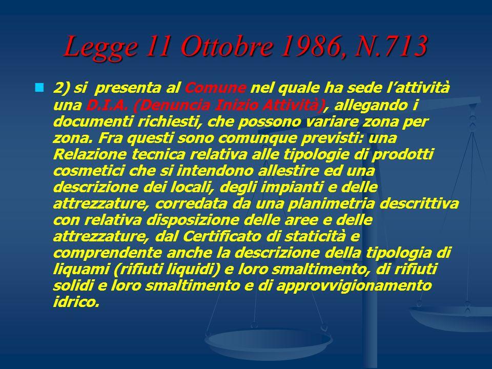 Legge 11 Ottobre 1986, N.713 2) si presenta al Comune nel quale ha sede lattività una D.I.A. (Denuncia Inizio Attività), allegando i documenti richies