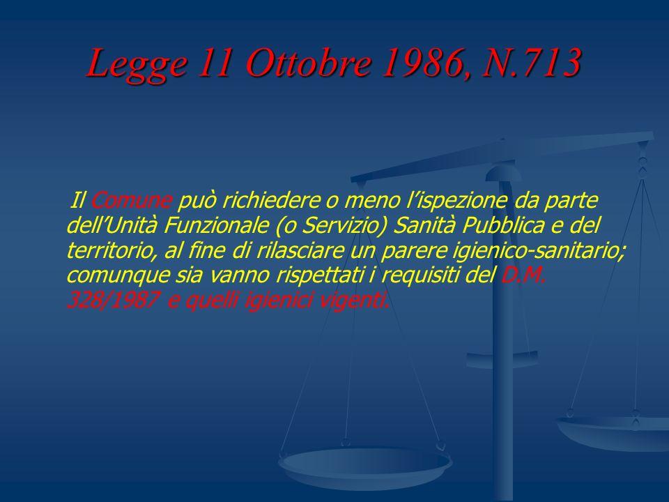 Legge 11 Ottobre 1986, N.713 Il Comune può richiedere o meno lispezione da parte dellUnità Funzionale (o Servizio) Sanità Pubblica e del territorio, a